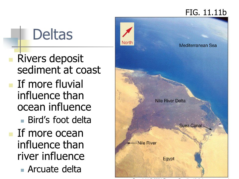 Deltas Rivers deposit sediment at coast
