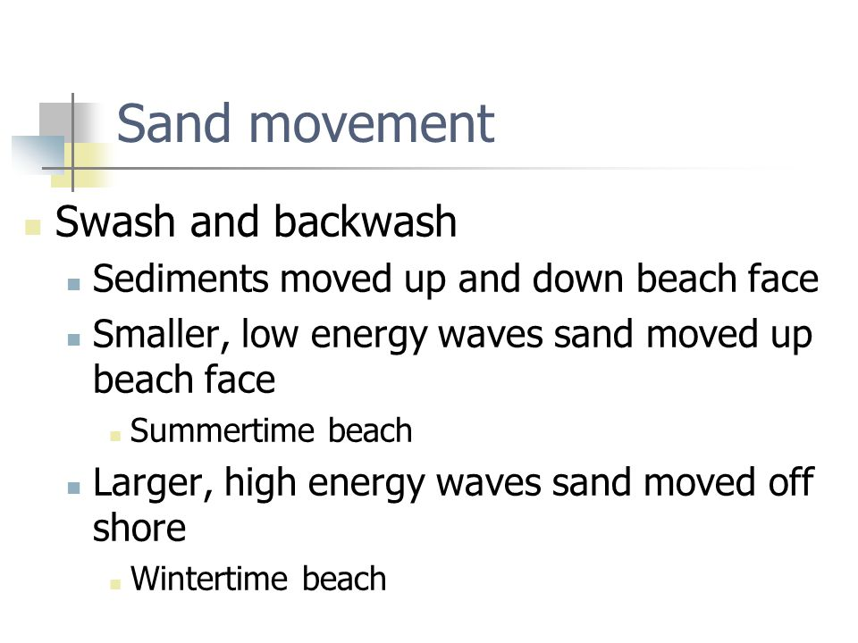 Sand movement Swash and backwash