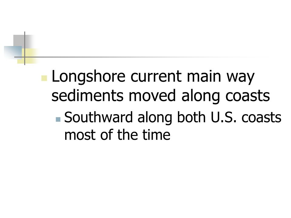 Longshore current main way sediments moved along coasts