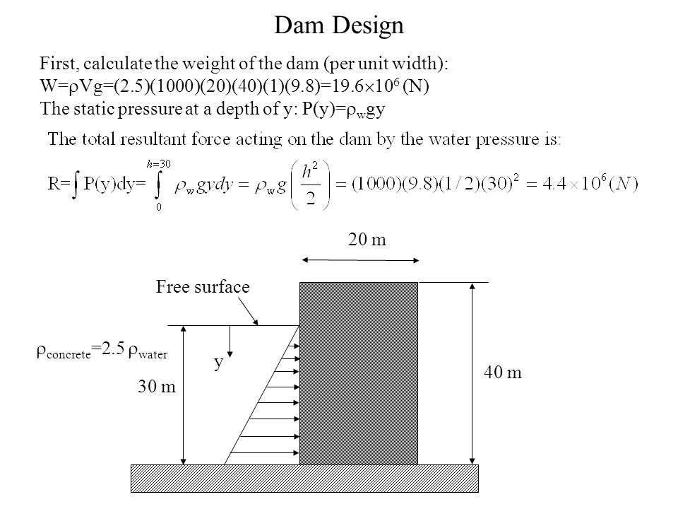 Dam Design First, calculate the weight of the dam (per unit width): W=rVg=(2.5)(1000)(20)(40)(1)(9.8)=19.6106 (N)