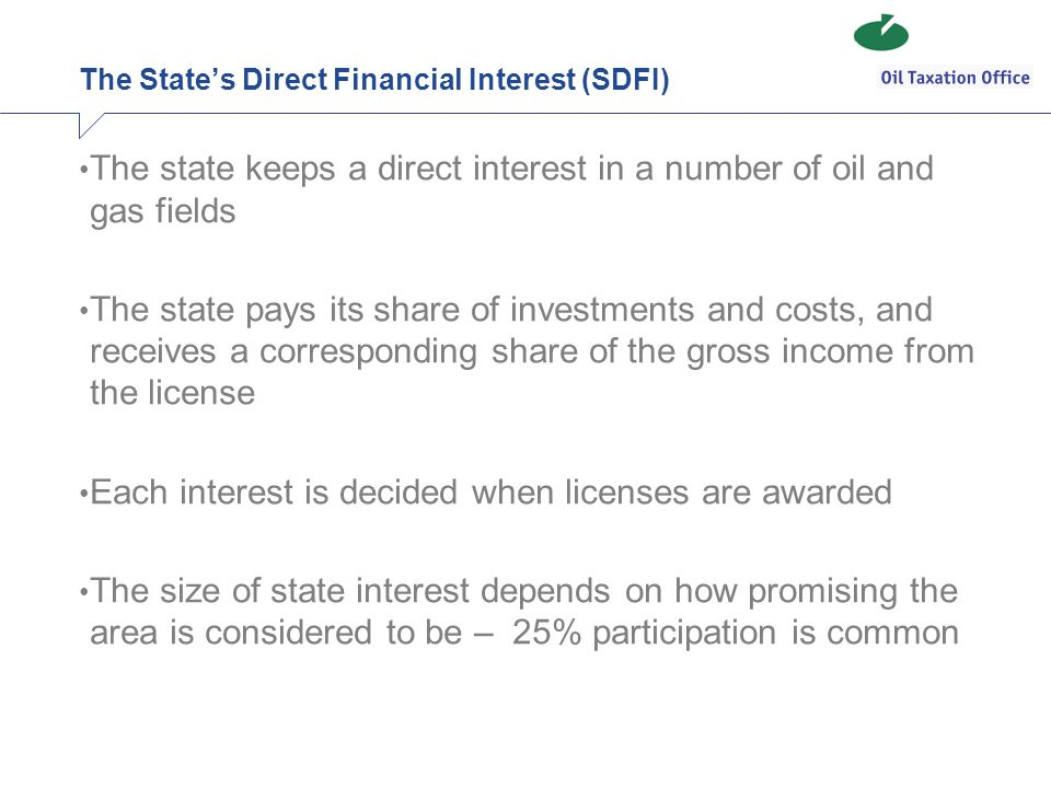 The State's Direct Financial Interest (SDFI)