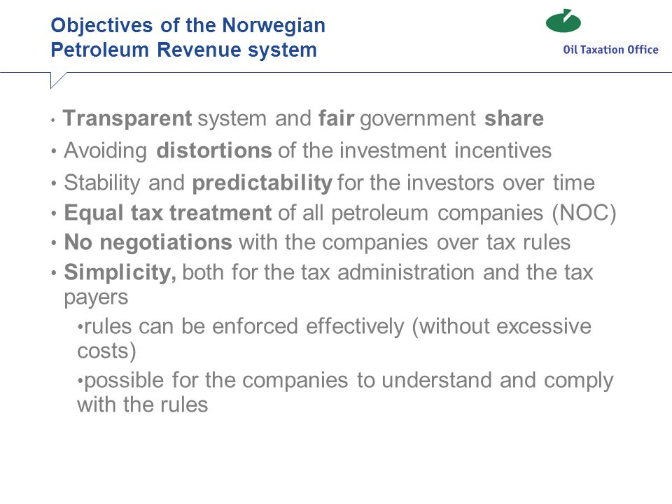Objectives of the Norwegian Petroleum Revenue system
