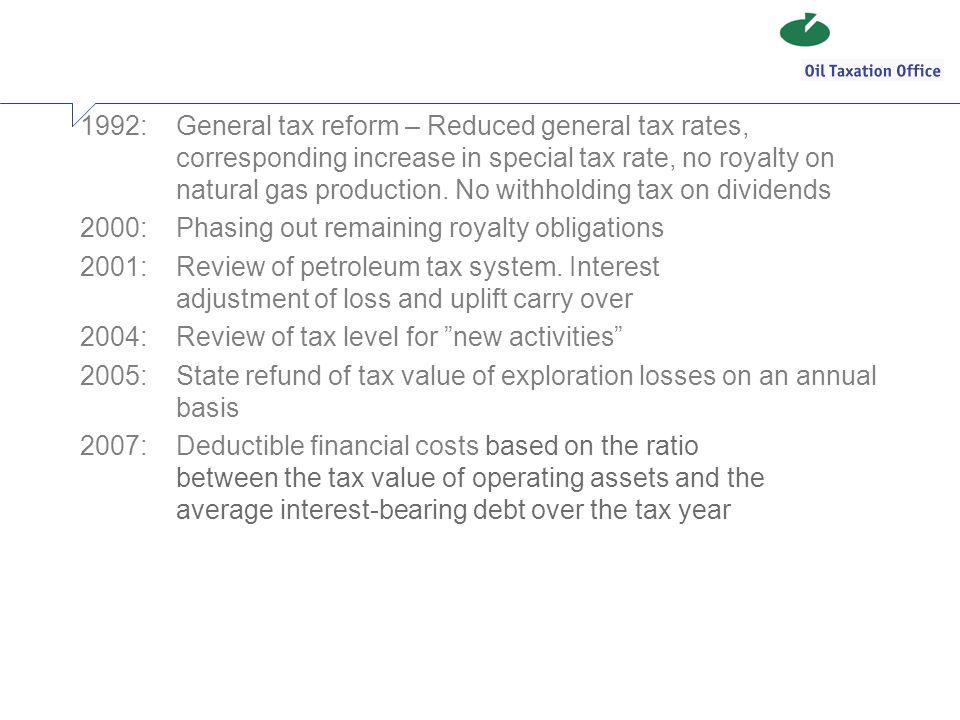 1992:. General tax reform – Reduced general tax rates,