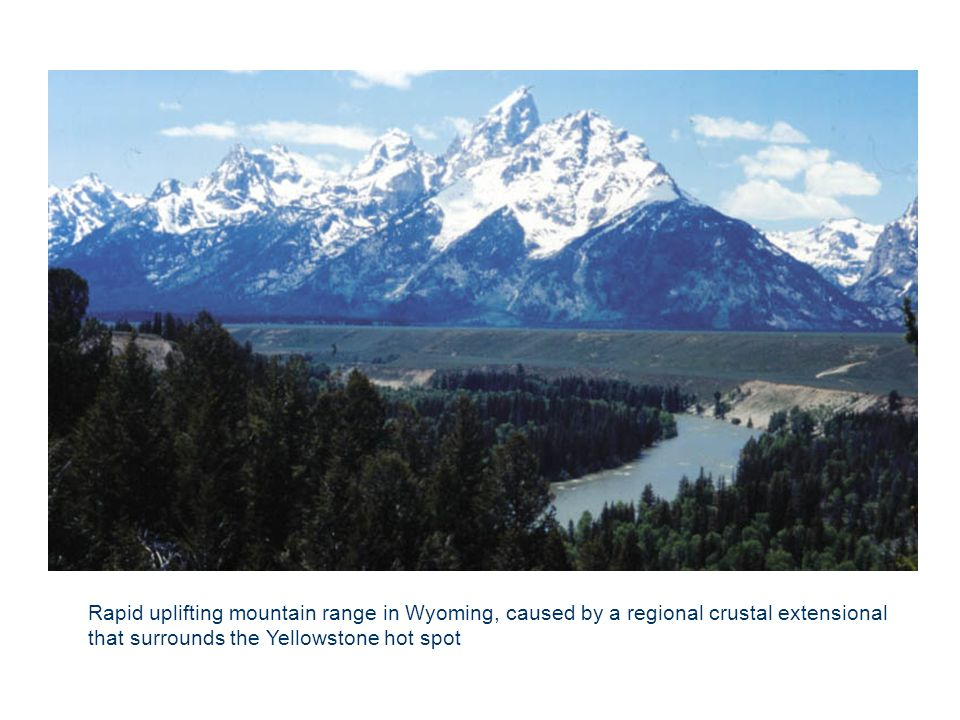 Rapid uplifting mountain range in Wyoming, caused by a regional crustal extensional that surrounds the Yellowstone hot spot