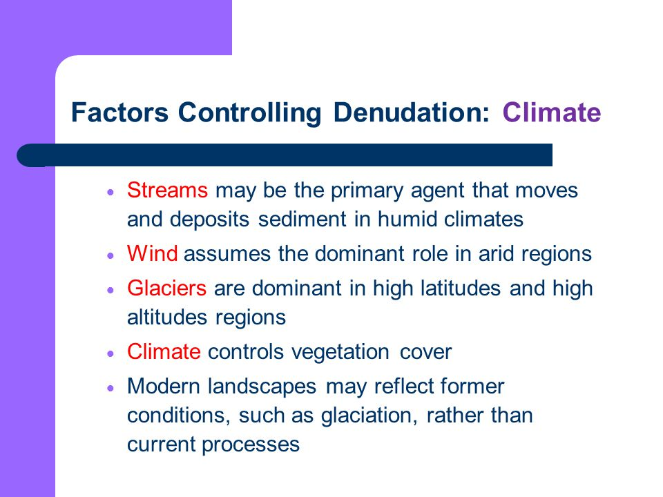 Factors Controlling Denudation: Climate