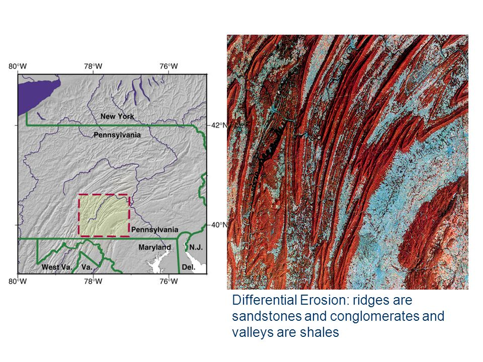 Differential Erosion: ridges are sandstones and conglomerates and valleys are shales