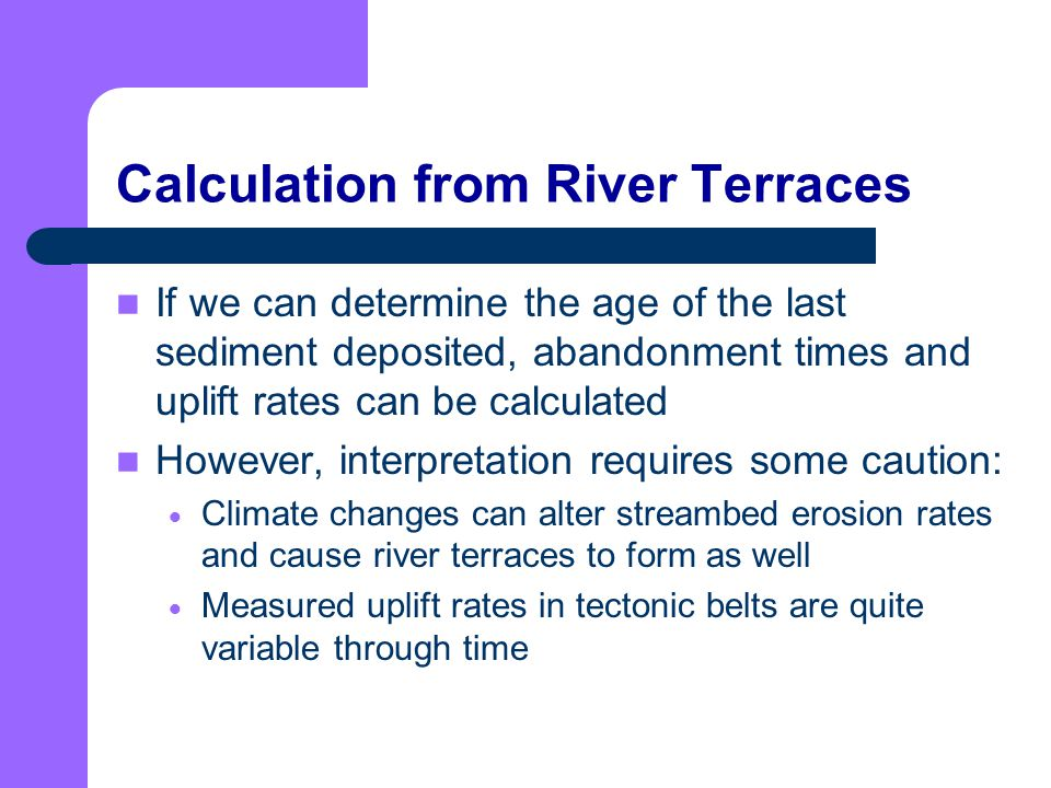 Calculation from River Terraces