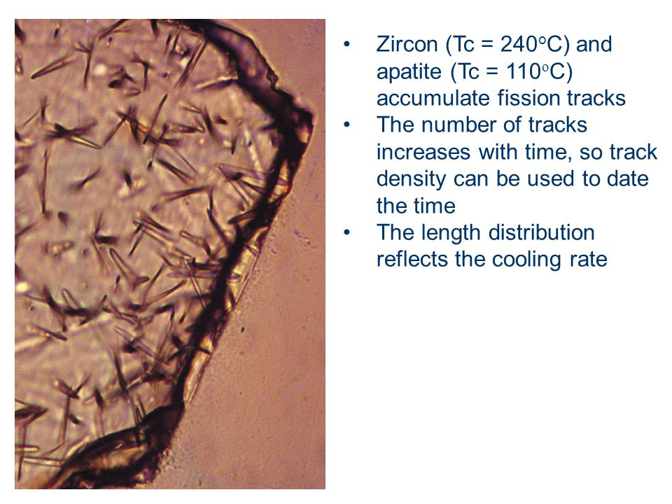 Zircon (Tc = 240oC) and apatite (Tc = 110oC) accumulate fission tracks