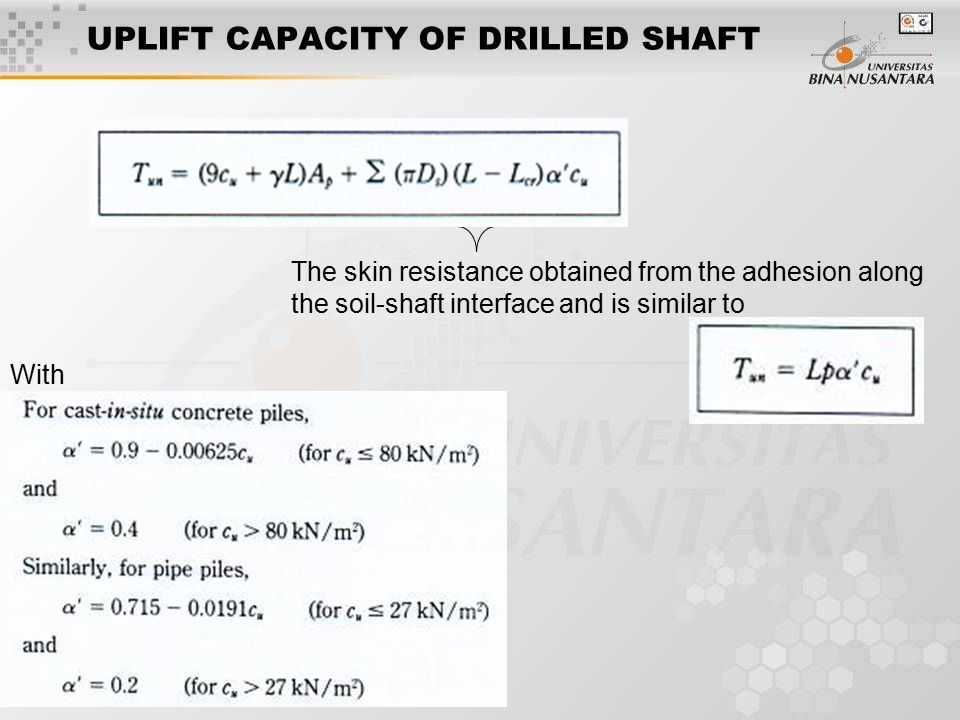 UPLIFT CAPACITY OF DRILLED SHAFT