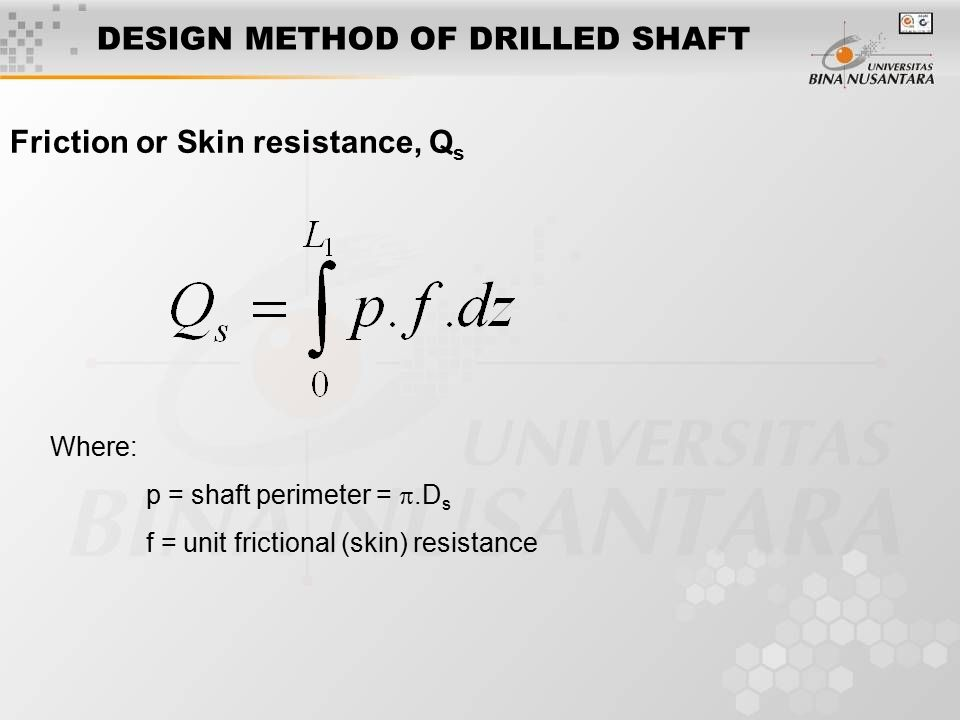 DESIGN METHOD OF DRILLED SHAFT