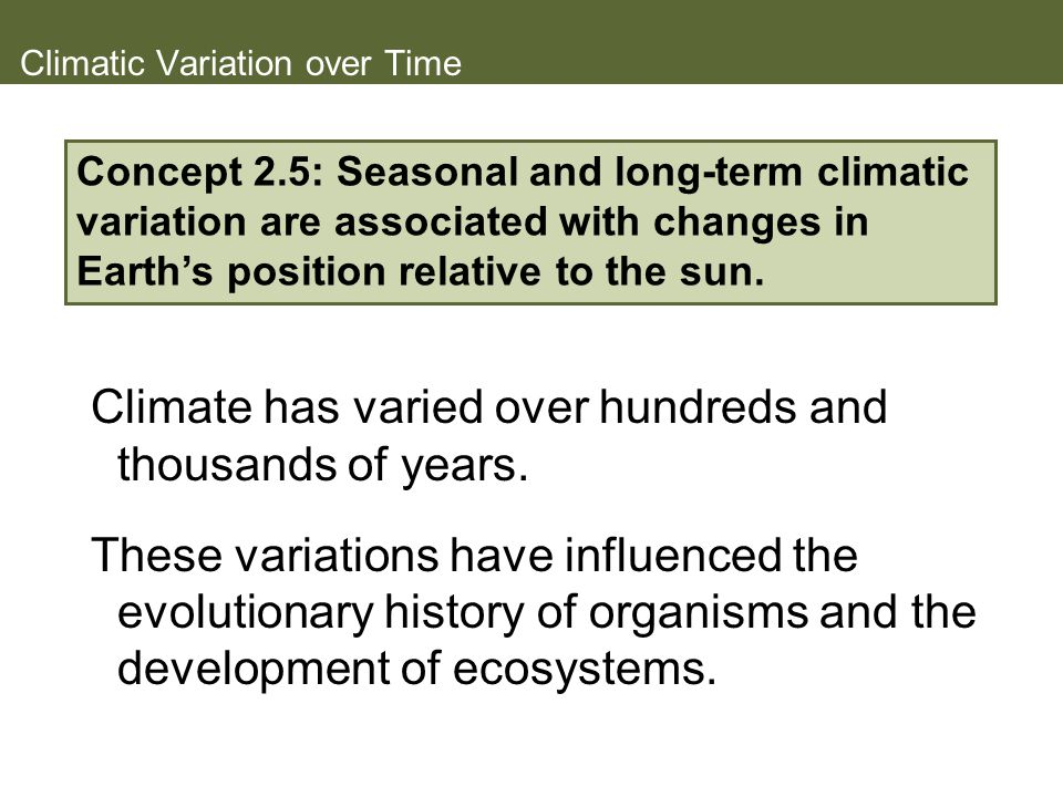 Climatic Variation over Time