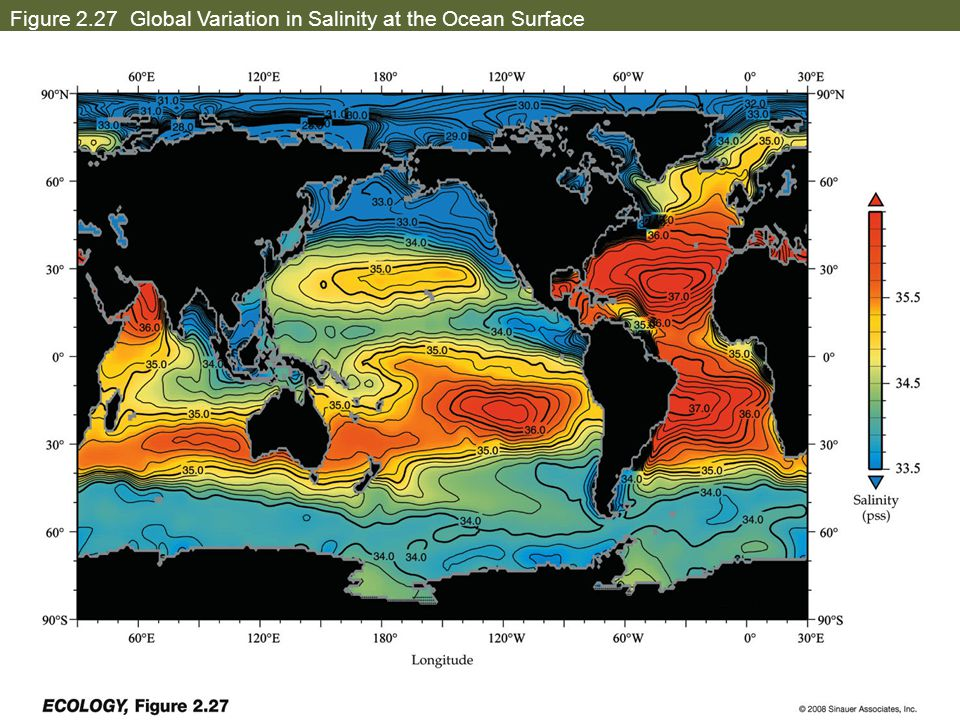Figure 2.27 Global Variation in Salinity at the Ocean Surface