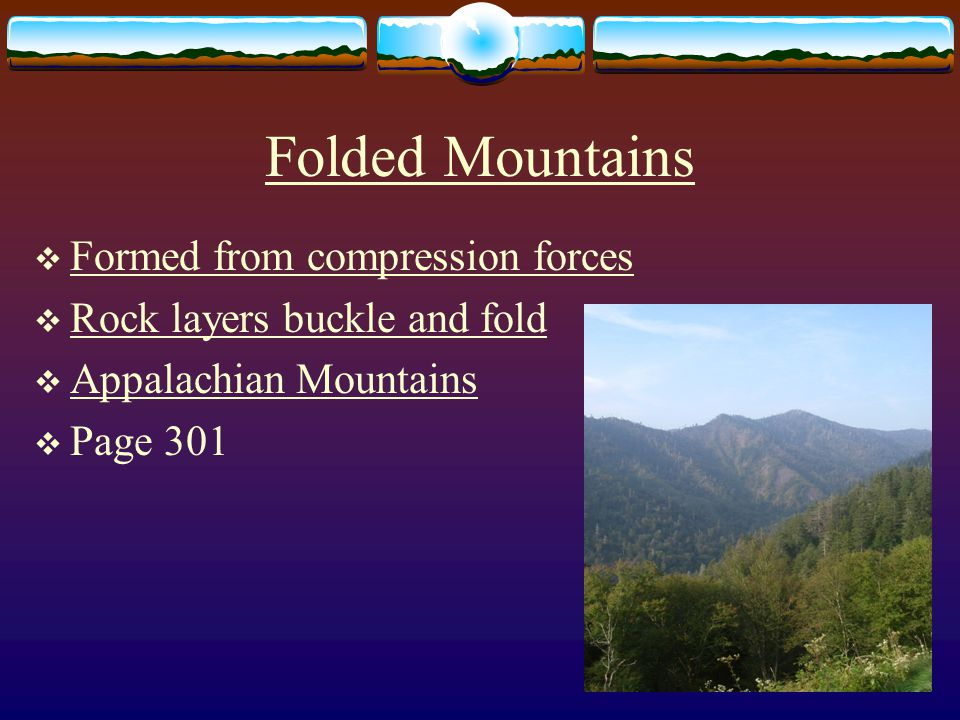 Folded Mountains Formed from compression forces