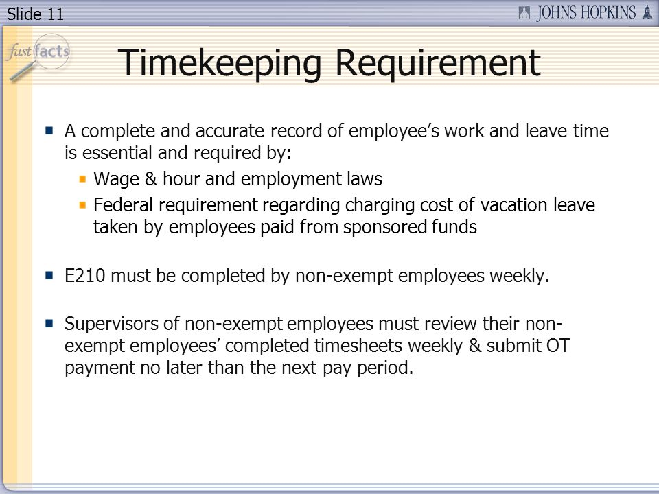 Timekeeping Requirement