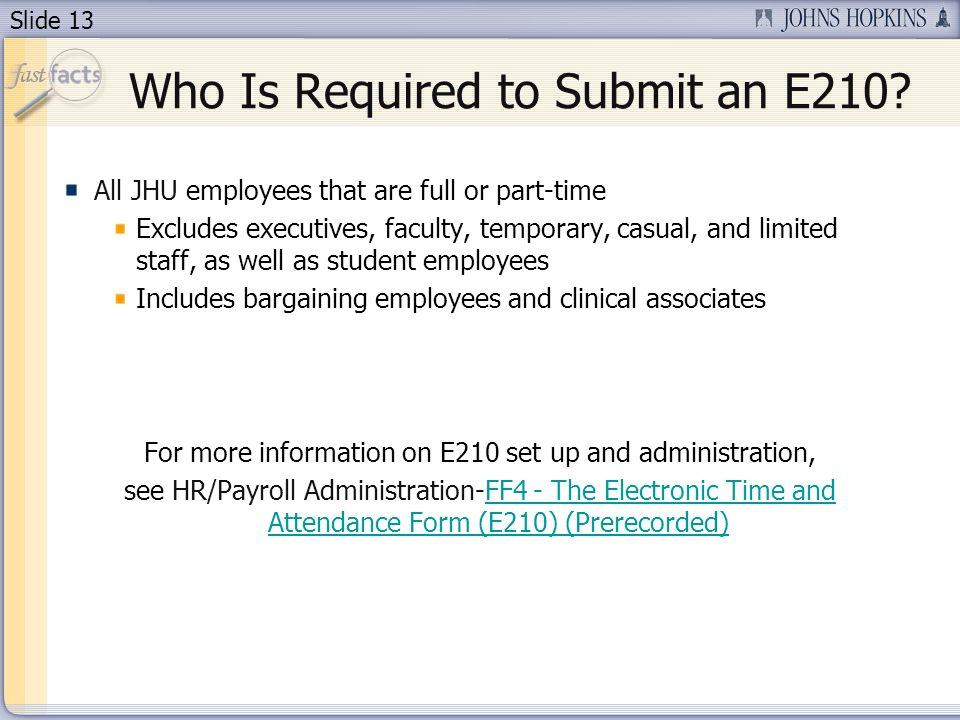 Who Is Required to Submit an E210