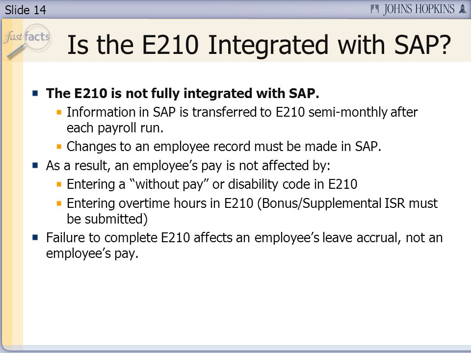Is the E210 Integrated with SAP