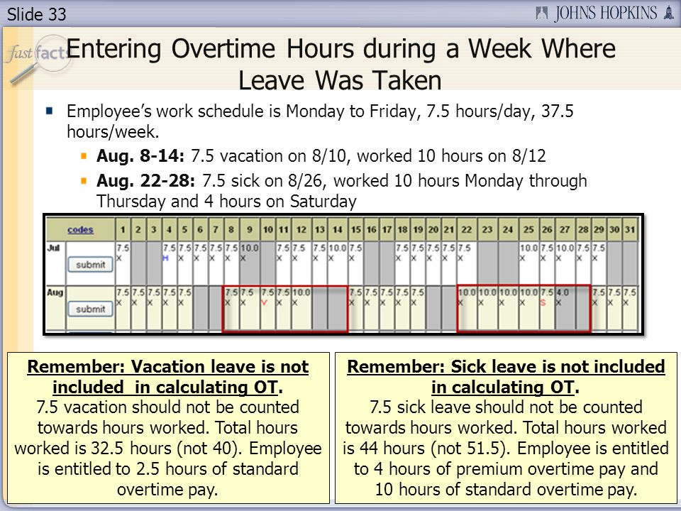 Entering Overtime Hours during a Week Where Leave Was Taken