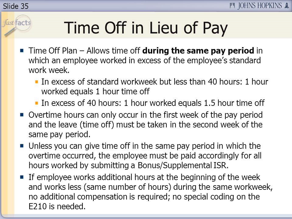 Time Off in Lieu of Pay