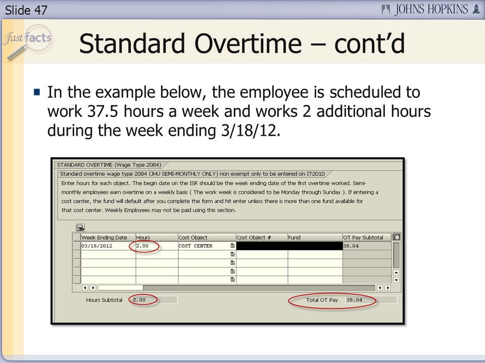 Standard Overtime – cont'd