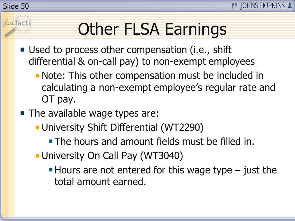 Other FLSA Earnings Used to process other compensation (i.e., shift differential & on-call pay) to non-exempt employees.