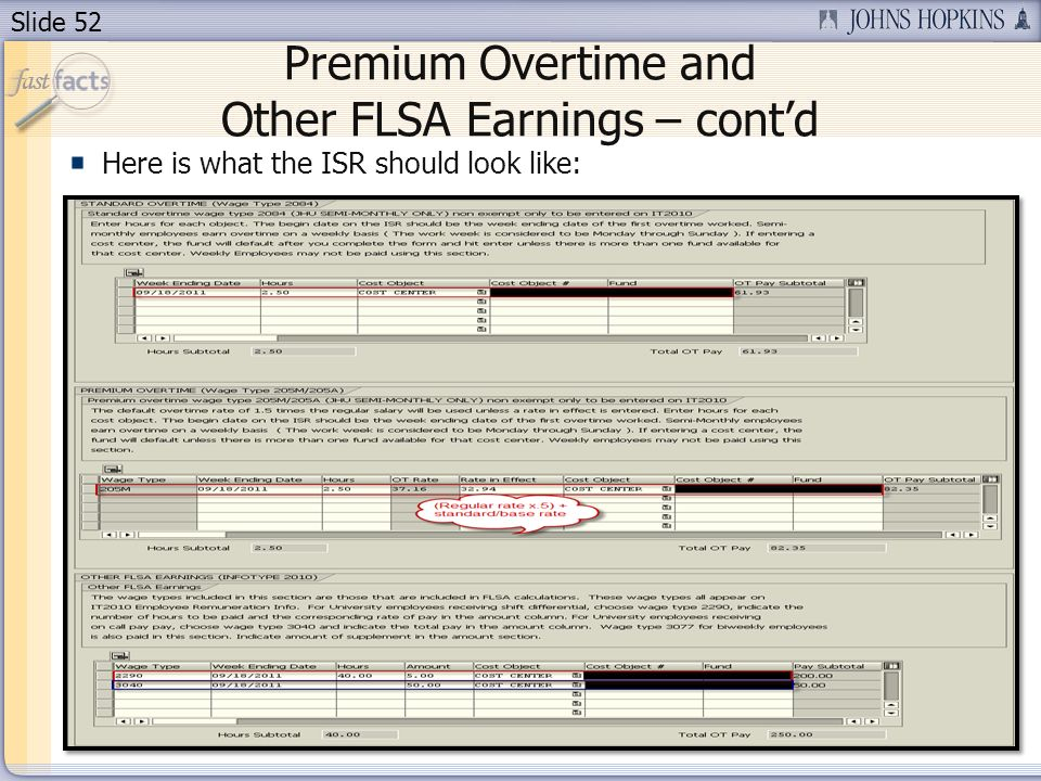 Premium Overtime and Other FLSA Earnings – cont'd