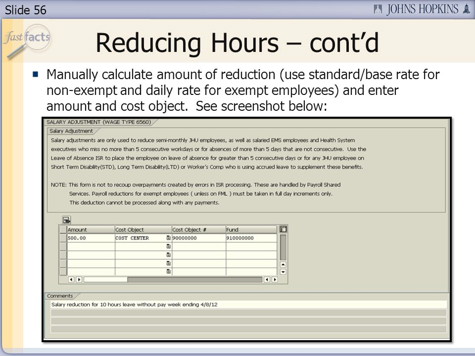 Reducing Hours – cont'd