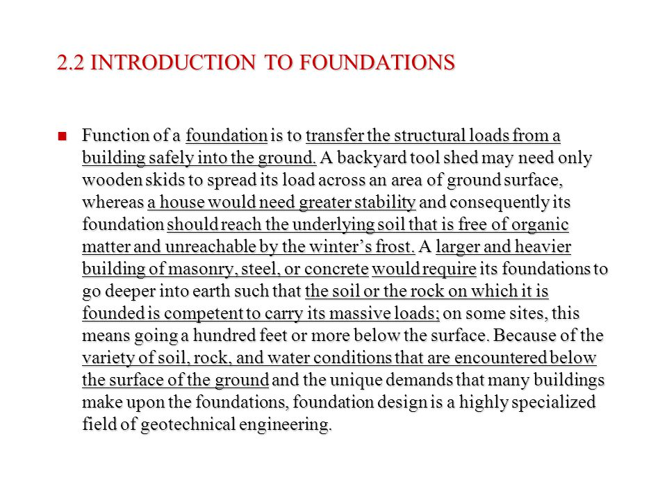2.2 INTRODUCTION TO FOUNDATIONS