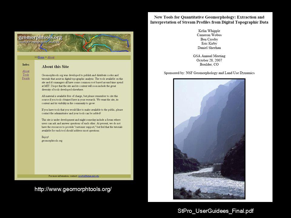 http://www.geomorphtools.org/ StPro_UserGuidees_Final.pdf