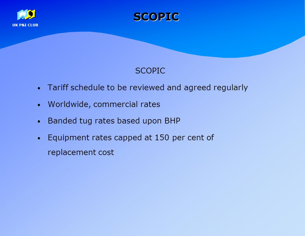 SCOPIC SCOPIC Tariff schedule to be reviewed and agreed regularly