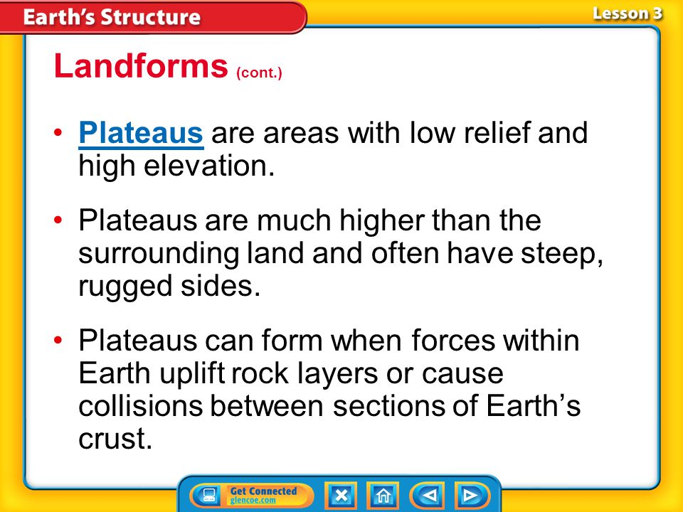Landforms (cont.) Plateaus are areas with low relief and high elevation.
