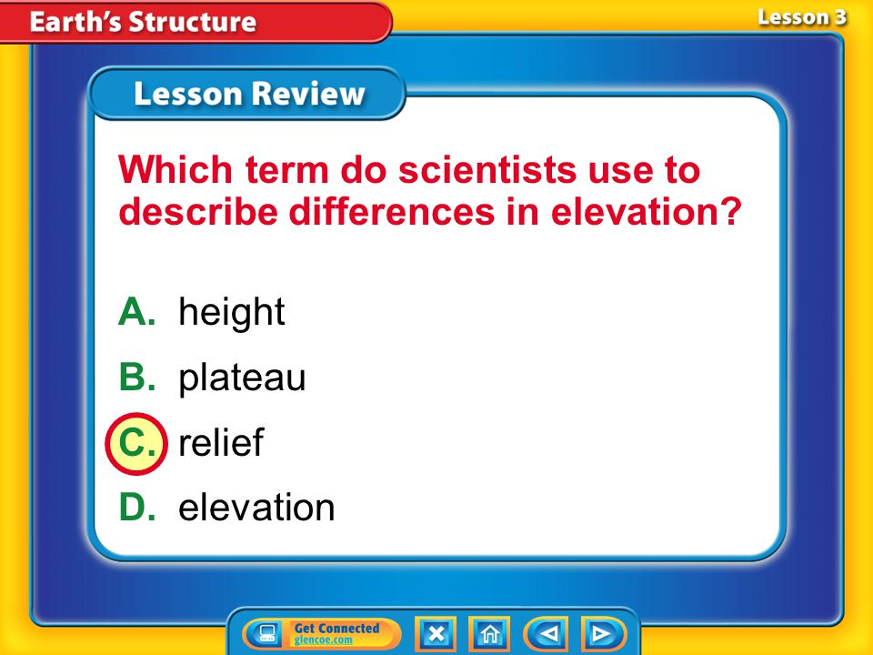 Which term do scientists use to describe differences in elevation