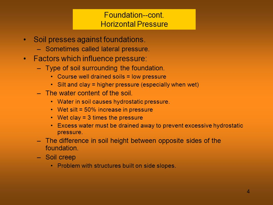 Foundation--cont. Horizontal Pressure