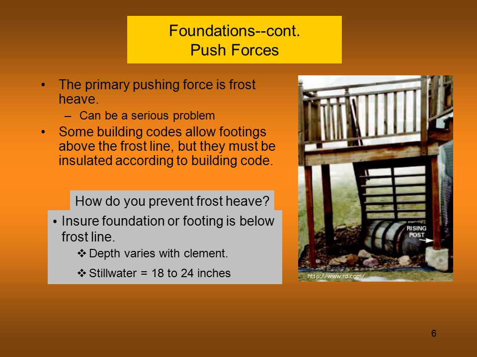 Foundations--cont. Push Forces
