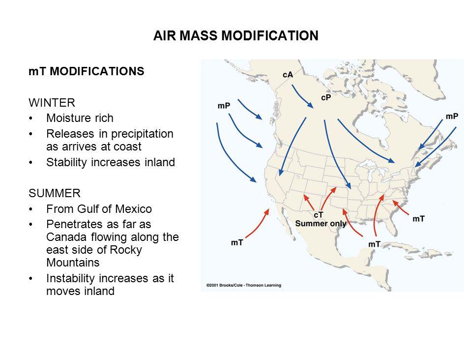 AIR MASS MODIFICATION mT MODIFICATIONS WINTER Moisture rich
