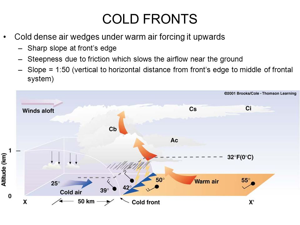 COLD FRONTS Cold dense air wedges under warm air forcing it upwards