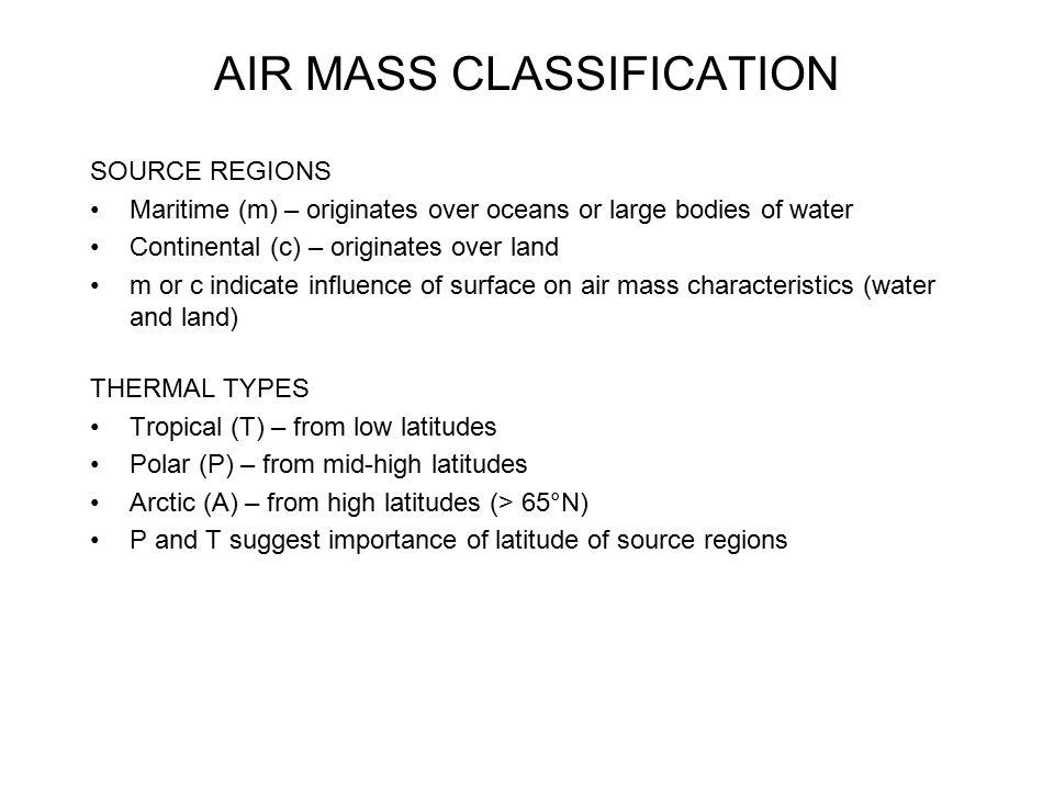 AIR MASS CLASSIFICATION