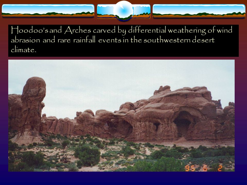 Hoodoo's and Arches carved by differential weathering of wind abrasion and rare rainfall events in the southwestern desert climate.