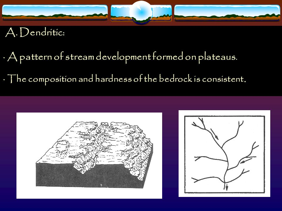 · A pattern of stream development formed on plateaus.