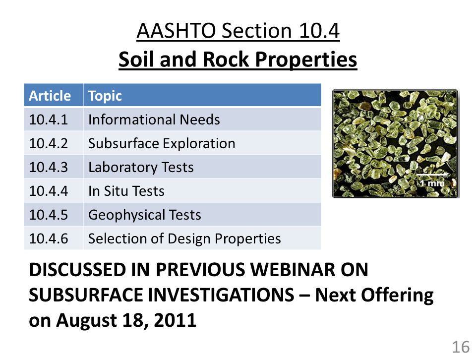 AASHTO Section 10.4 Soil and Rock Properties