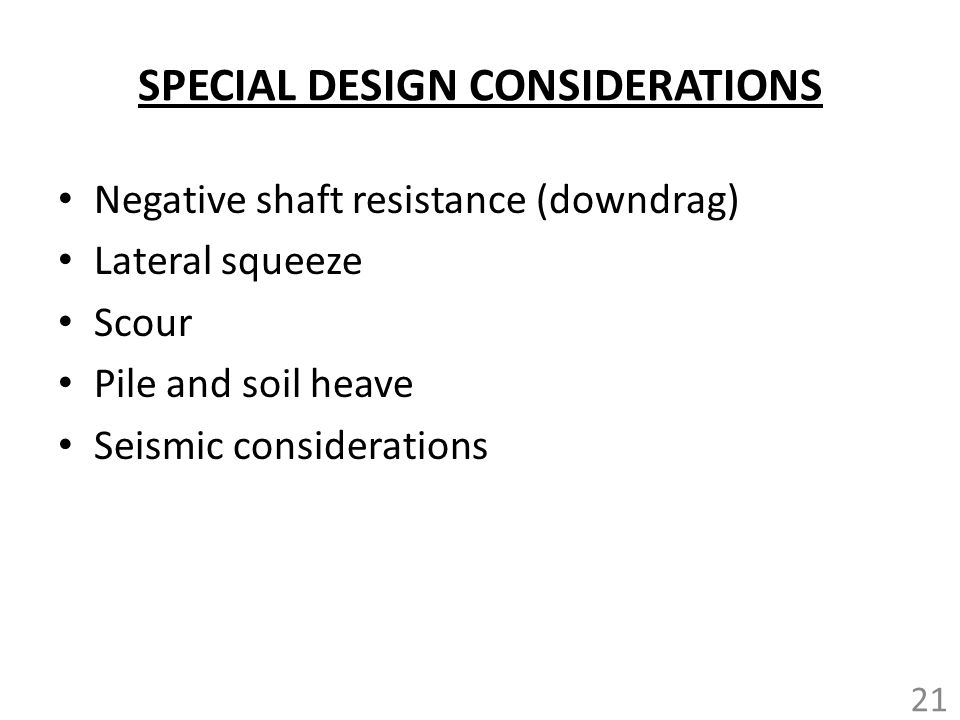 SPECIAL DESIGN CONSIDERATIONS