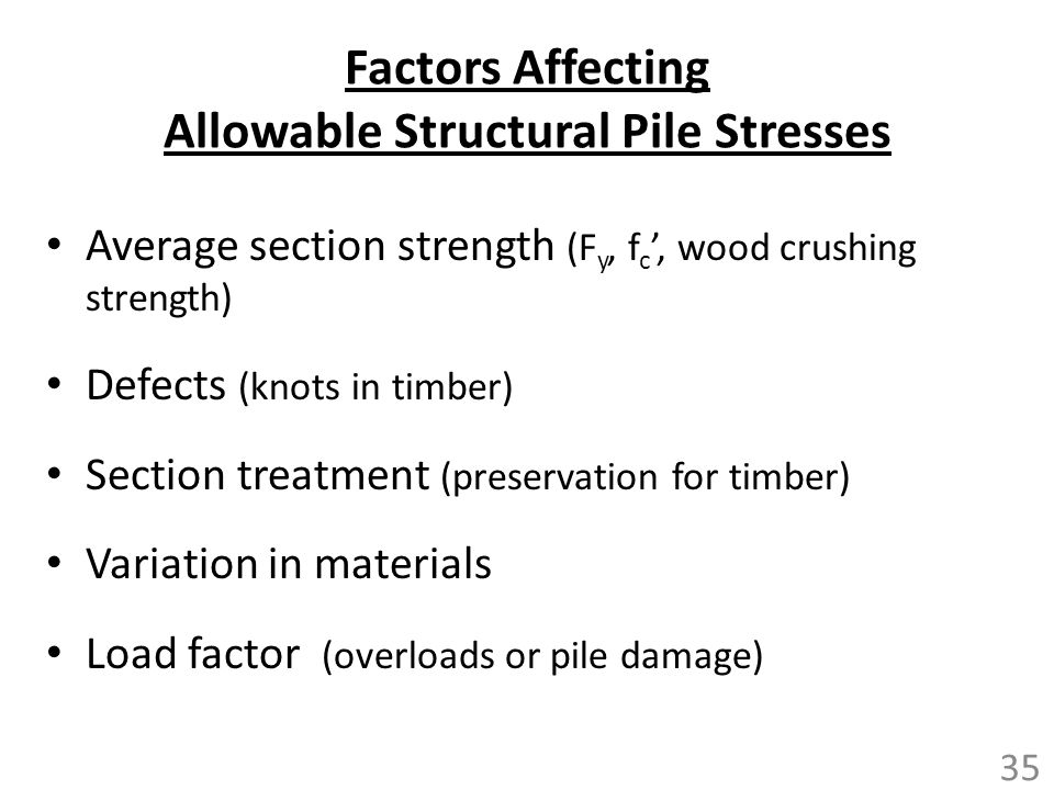 Factors Affecting Allowable Structural Pile Stresses