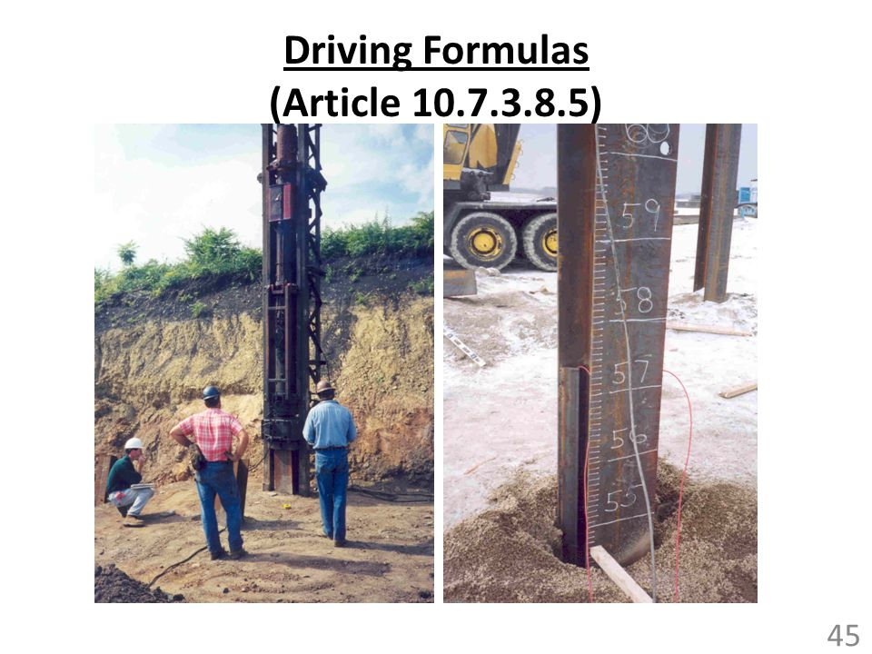 Driving Formulas (Article 10.7.3.8.5)