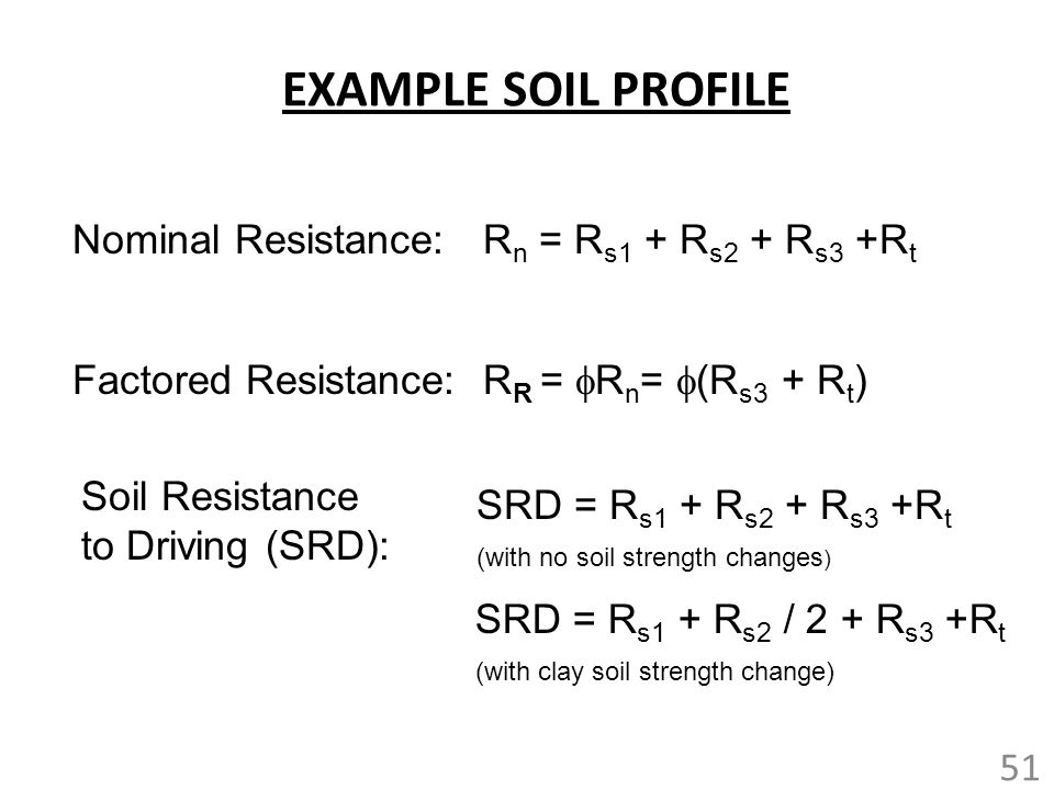 EXAMPLE SOIL PROFILE Nominal Resistance: Rn = Rs1 + Rs2 + Rs3 +Rt