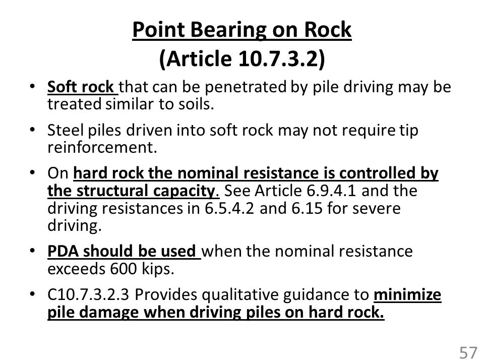 Point Bearing on Rock (Article 10.7.3.2)