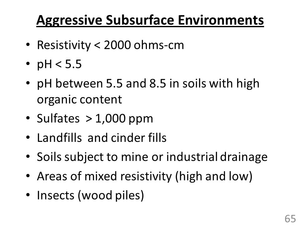 Aggressive Subsurface Environments