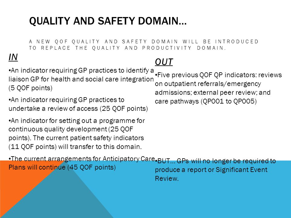 Quality and Safety domain…