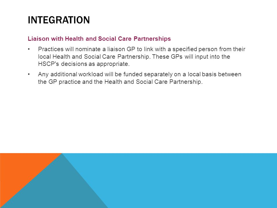 Integration Liaison with Health and Social Care Partnerships