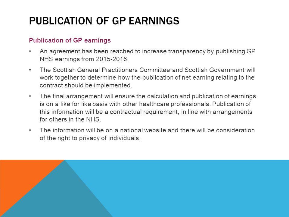 Publication of GP earnings