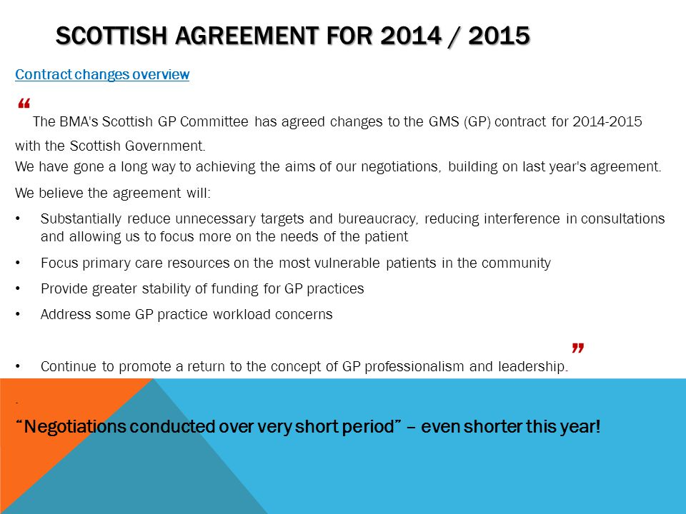 Scottish Agreement for 2014 / 2015