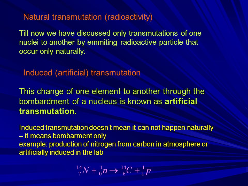 Natural transmutation (radioactivity)